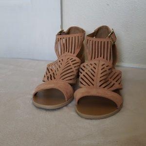 Pink Suede Block Heels